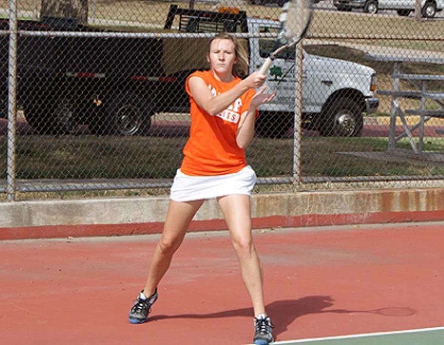 Former Legacy student Megan Henry now attends Baker University in Kansas and play for their tennis team