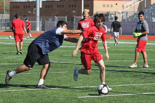 Boys soccer practice after school.