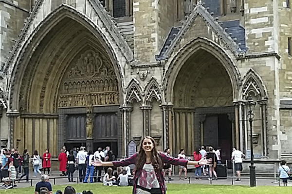 Rachel Van Lear, 11, stands in front of The Westminister Cathedral in London, England.
