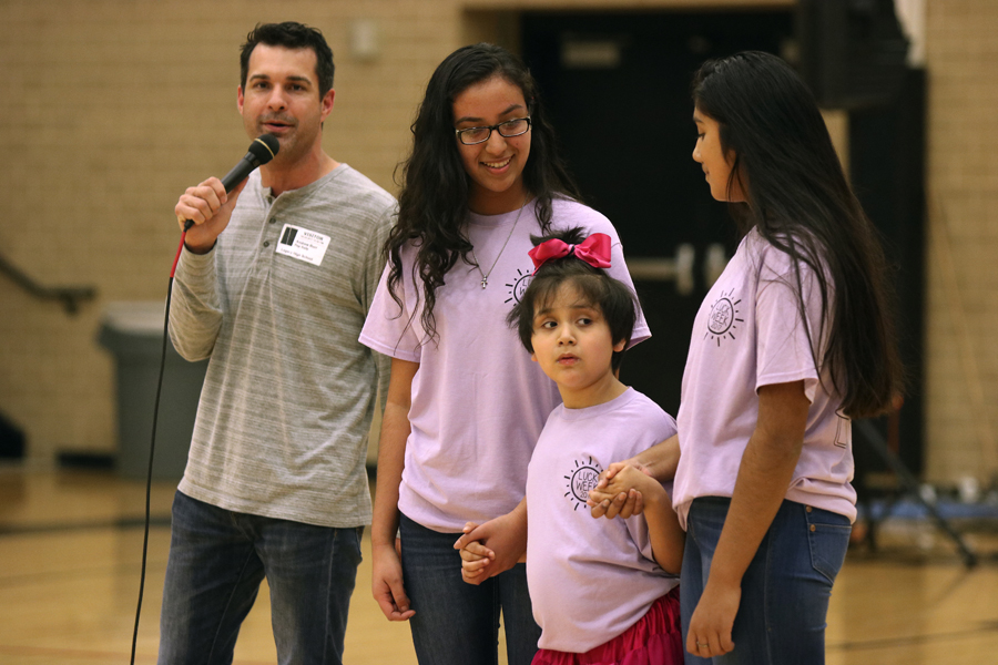 Eight-year-old Angelina Jasso attends the pep rally dedicated on her behalf. LUCK week consisted of a pep rally, fundraisers, spirit nights, dress up days and most importantly, a whole week of dedication to someone in need.
