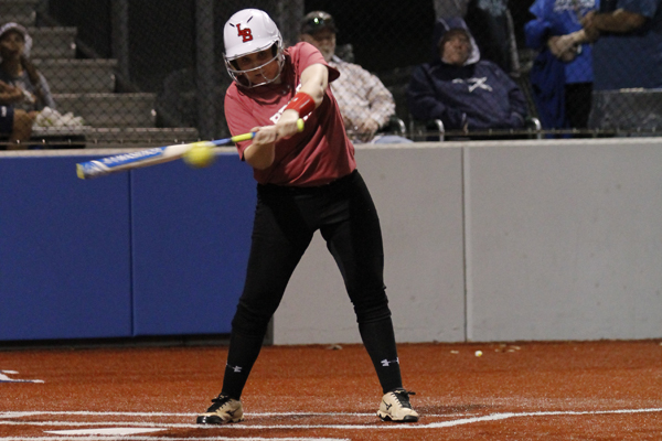 Erin Keating, 12, makes contact with the ball during a game against Brewer.