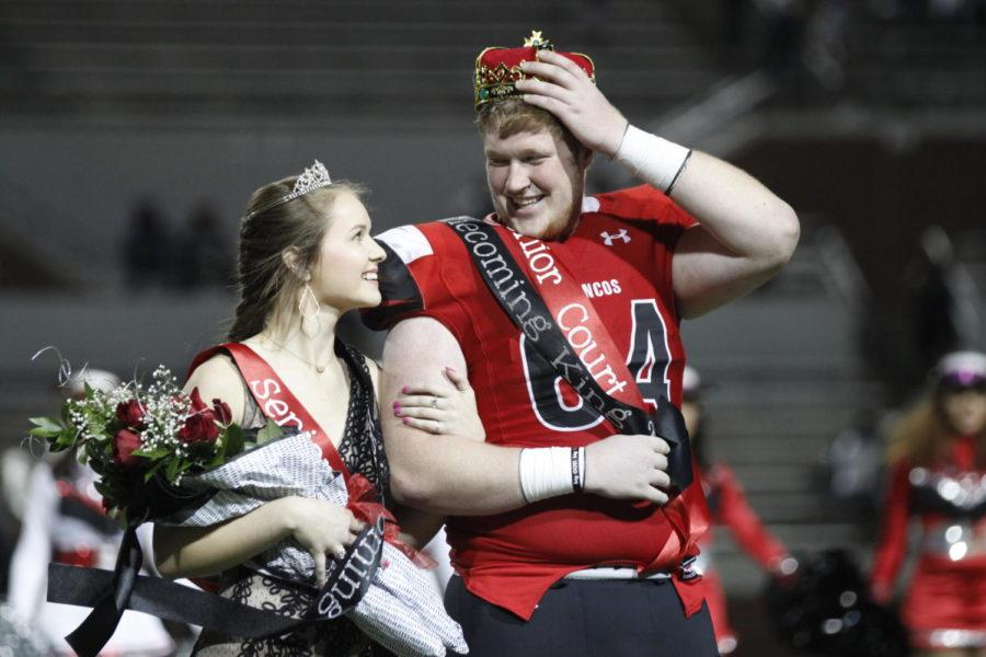Clayton+Franks%2C+12%2C+and+Karlee+Kroner%2C+12%2C+are+crowned+homecoming+king+and+queen.+Franks+and+Kroner+were+nominated+along+with+eight+other+nominees.+%28Dalton+Mix+photo%29