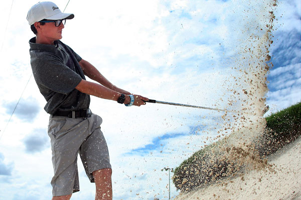 Freshman Kyle Pitts practices his hits in the bunker on Sept. 26.