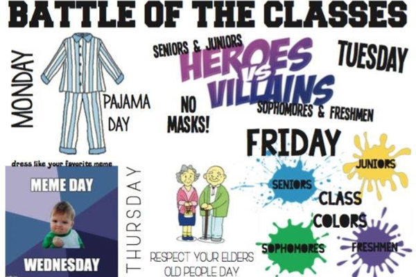 Battle Of The Classes will be held every day during the week of Nov. 13 to Nov. 17. Freshman and Sophomores are competing, and Juniors and Seniors are pitted against one another in dress up days, fundraising, and a final battle at Friday's pep rally.
