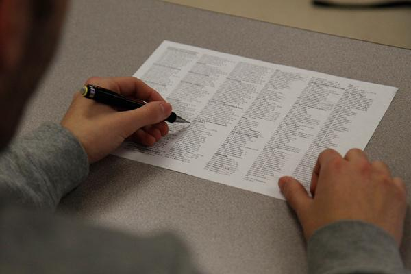 Students begin to fill out their course selection sheets for next years classes.