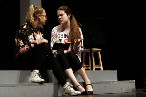 Junior Katy Thomas rehearses for the theater department's one act play,