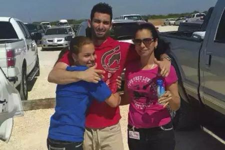 Sophomore Surisaday Sanchez reunites with her family.