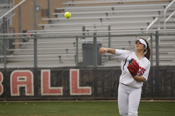 Kelby Robbins, 9, throws a pass on the softball field. Robbins already verbally committed to play softball at the University of Stephen F. Austin.
