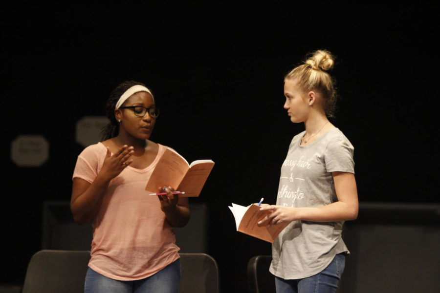 Eboni+Kinnel%2C+11+and+Hannah+Reetz%2C+10+rehearse+for+an+upcoming+production.+