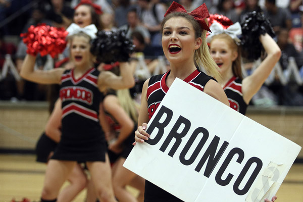 Kinzie Wilson, 11, cheers during the first pep rally of the year.