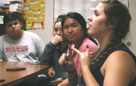 Jazmine Necessary, 12, leads the Interact meeting on Sep. 12. Interact Club meets Wednesdays.