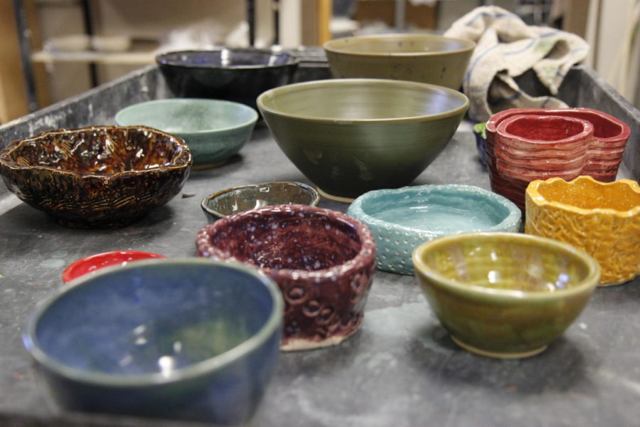 The+bowls+made+by+high+school+ceramics+students+and+district+art+teachers+will+be+sold+at+the+Center+on+Nov.+27+to+support+the+Mansfield+Cares+Charity.