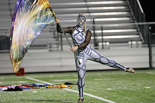 Kayla+Cunningham%2C+12%2C+performs+with+band+and+color+guard+during+halftime+at+the+varsity+football+game+against+Dallas+Samuell.+%28Mckenna+Collier+photo%29