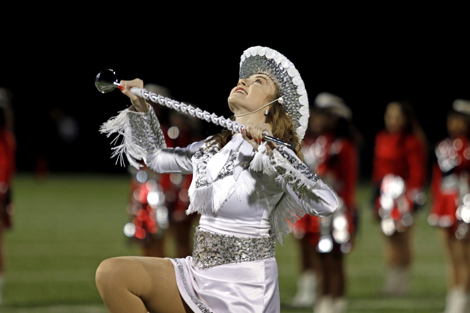 Ashton Williams preforms during halftime at the red out game against the Samuell Spartans.