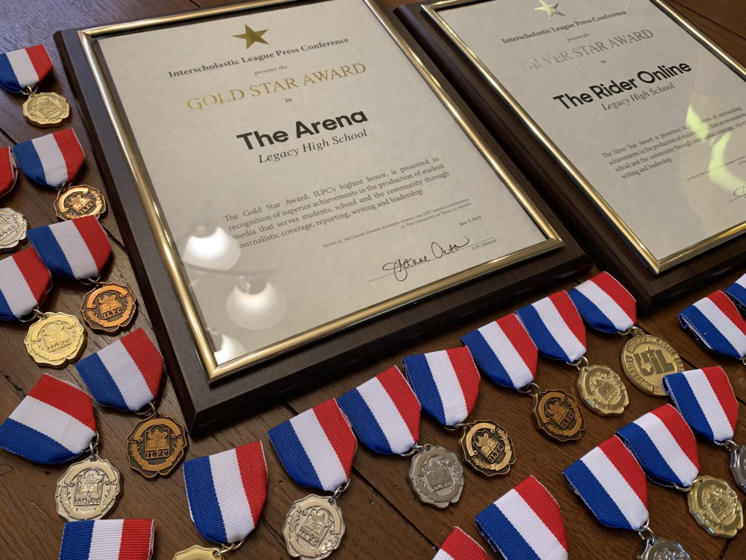 Legacy's student publications (The Arena yearbook and therideronline.com) recently won four top national awards and UIL's top award, the Star. Students also earned 42 Individual Achievement Awards for specific stories, photos and pages.