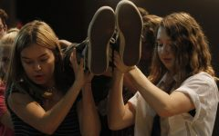 Hannah Davis, 12, and Tristin Newman, 10, rehearse for Eurydice. The show opens on Oct. 3 at 7 p.m.