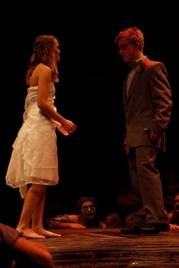 Kamryn Hannigan, 12, argues with Seth Matthews, 11, during the show. (Delayne Fierro photo)