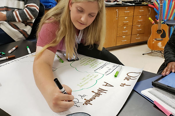 Katelyn Pasierb, 12, works on a poster in AcaDec. Pasierb has competed for the team for three years.