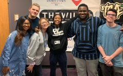 Singer Kaash Paige (center) poses with her old classmates. Paige visited the Practicum Digital Audio class at Ben  Barber so the students could interview her.