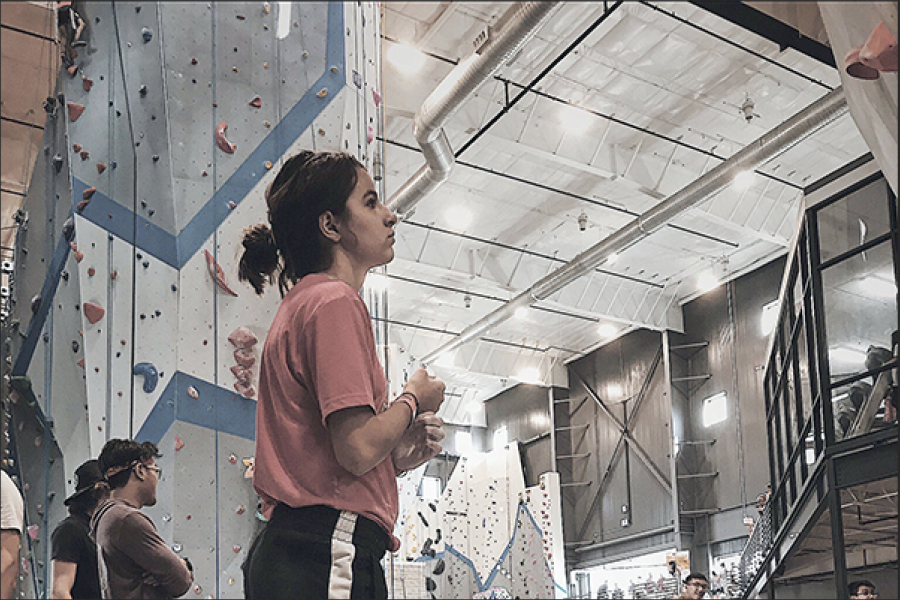 Loralye Stevenson, 11, gets ready to start rock climbing practice. She spent her summer with the Olympic team.