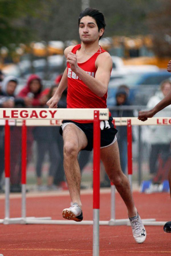 Aidan Getreu, 11, competes in hurdles at Bronco Relays. (Brooklyn Hilmes photo)