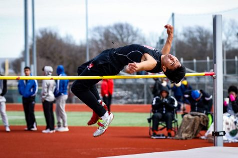 Alex Obhmalay, 9, competes in high jump at Bronco Relays. (Conner Riley photo)