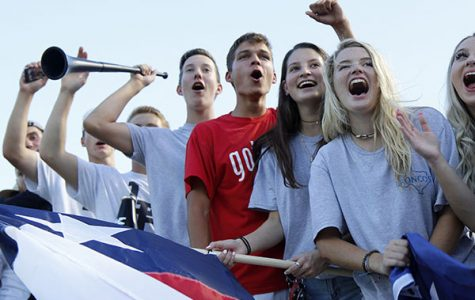 Students show school spirit during the Border Brawl football game against the Jenks Trojens. Yeary expresses concern that school choice would discourage school spirit and extracurricular involvement.