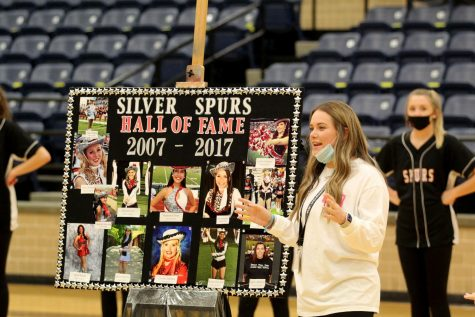 Drill Team Assistant Coach Alexandria is inducted into the Silver Spurs Hall of Fame on Oct. 23.