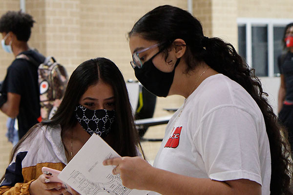 On the first day of in-person school, upperclassmen helped students find their classrooms.