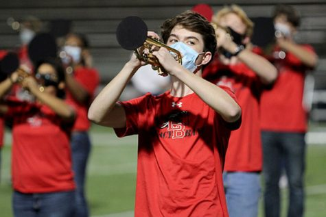 Blake Crosslin, 11, plays the trumpet. Band performed at the MISD Band Showcase on Nov. 16 at Vernon Newsom Stadium.