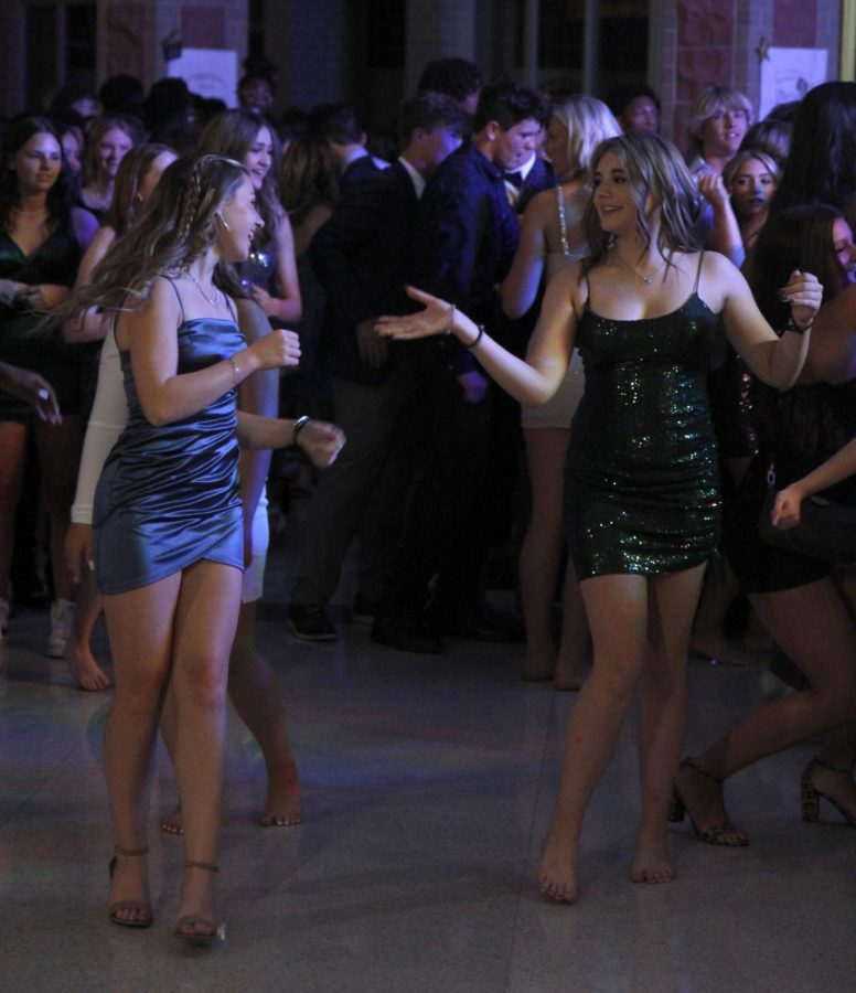 Students dance on the dance floor