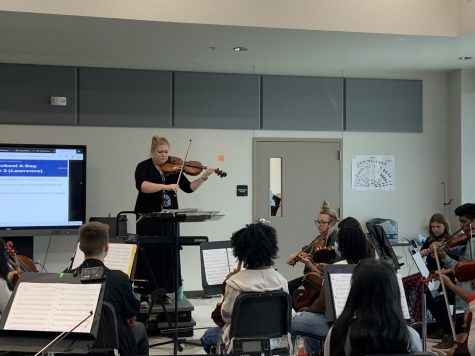 Ellen Lawrence plays to her students in class