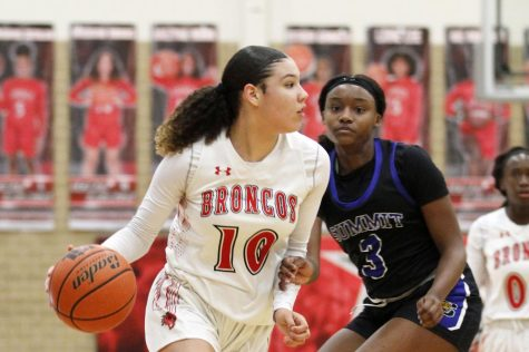 Madison Griggs, 10, dribbles the ball during the game against Summit last season. The Broncos won 60-45.