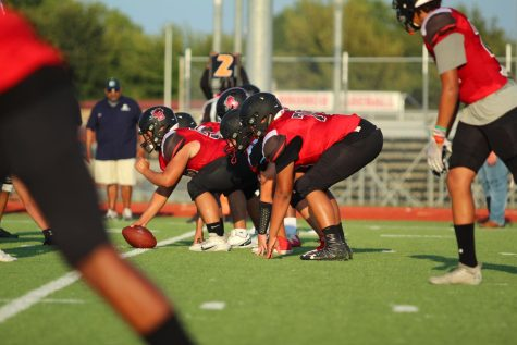 On 2nd down, the JV team lines down to run a play. JV lost to Birdville 15 to 12.
