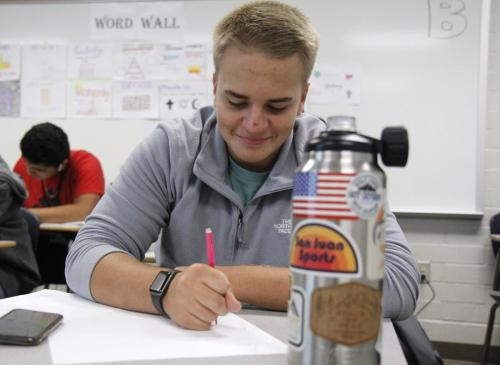 In Coach Rahn Smith's U.S. History class, Jhett Gordon 10, works on his project that covers ancient Asia. Students worked to create an acrostic poem using the word medieval. (Matt Carroll Photo)