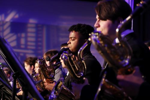 Jaiden Bryant, 11, plays the saxophone for the band's annual Jazz Bash on Feb. 9. The event hosted four total jazz bands including a middle school band, high school band, college band, and a professional band for the night. (Seth Miller photo)