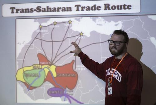 Mr. West teaches his students about the Trans-Saharan trade routes in Africa. He keeps his students busy and entertained so they don't zone out in his class.c . ( Avery Florence Photo)