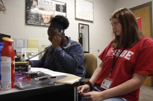 Juniors Sarah Akande and Amber Trammell do morning announcements. We have announcements every morning to start off advisory. (Delayne Fierro Photo)
