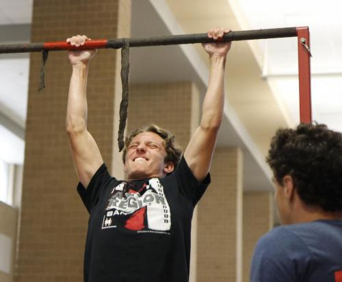 During lunch a group of Marine representatives hold a Pull-Up Challenge with rewards for reaching a specific count. Graham Gornall, 11, attempted to beat the record for most pull-ups. (Avery Florence Photo)