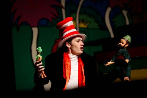 """Garrick Hague, 12, rehearses his role as the Cat in the Hat in the upcoming play """"Seussical"""" on Jan 23. The show will be open to the public on Jan 24 at 7 p.m. and Jan 25 at 2 p.m and 7 p.m. (Delayne Fierro Photo)"""