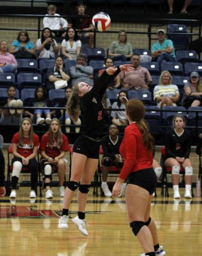Emmaline Marion, 11, hits the ball during the JV game against Birdville on Aug. 20. Legacy lost both sets. (Samantha Freeman Photo)
