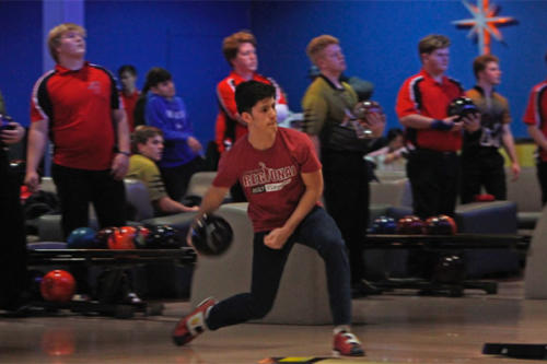 Braden Widner, 12, bowls during the JV match against Mansfield. JV lost against undefeated Mansfield. (Kristen Bosecker photo)