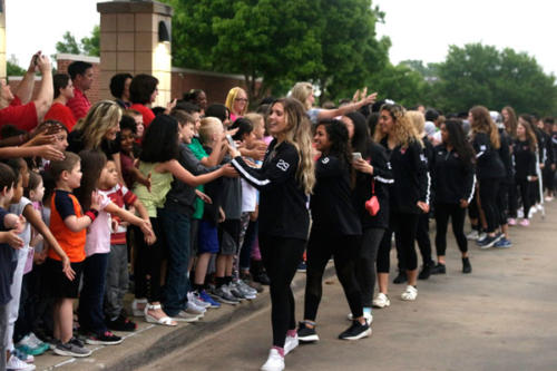 The varsity girls soccer team visits Mary Jo Shepard Elementary School for the send off of the state tournament. Legacy will play Dripping Springs in Georgetown on April 18. (Ellie Brutsche photo)