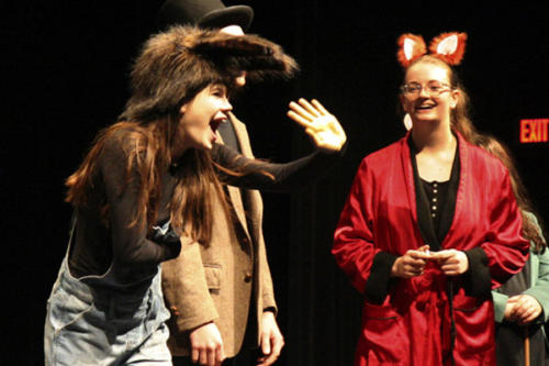 """Katy Thomas, 12, and Brooke Blaine, 12, perform """"The Tortoise and the Hare"""" at the theatre story time on Nov. 6. Theatre story time gives local elementary students the experience to see their favorite stories come to life. (Zane Hudson photo)"""